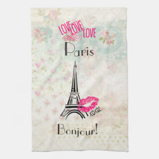 Love Paris with Eiffel Tower on Vintage Pattern Tea Towel