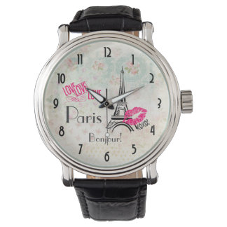 Love Paris with Eiffel Tower on Vintage Pattern Watch