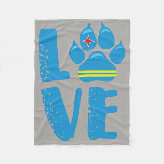 LOVE PAW - BLUE letters Fleece Blanket