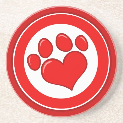 Love-Paw-Print- Animals Causes Red White Love Drink Coasters