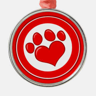Love-Paw-Print- Animals Causes Red White Love Ornaments
