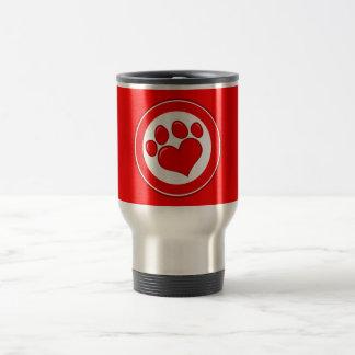 Love-Paw-Print- Animals Causes Red White Love Mugs