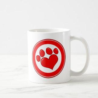Love-Paw-Print- Animals Causes Red White Love Coffee Mugs