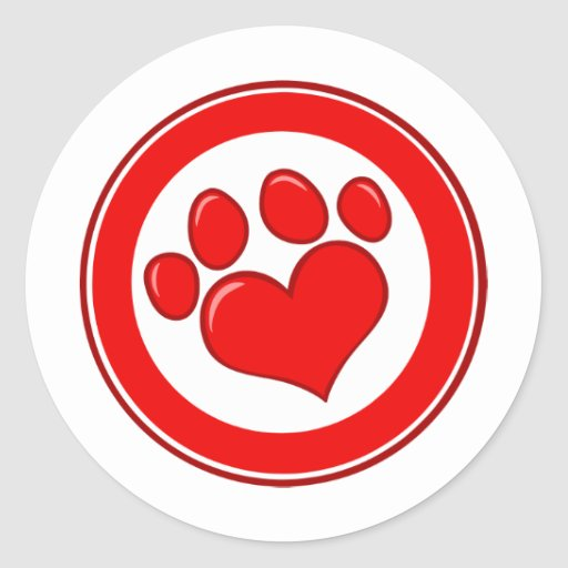 Love-Paw-Print- Animals Causes Red White Love Round Sticker