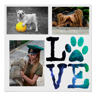 LOVE, Paw Print Personalized Dog Poster