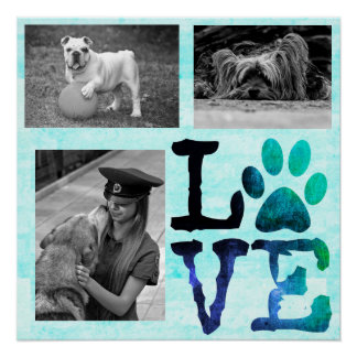 LOVE, Paw Print Personalized Dog Teal Poster