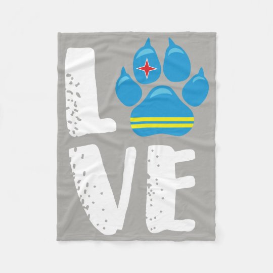 LOVE PAW - WHITE Letters Fleece Blanket