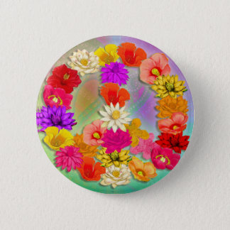 Love & Peace... and Flowers Button
