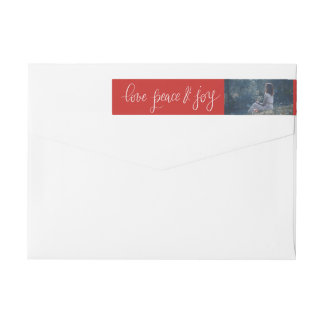 Love Peace And Joy Red Holiday Script | Photo Wrap Around Label