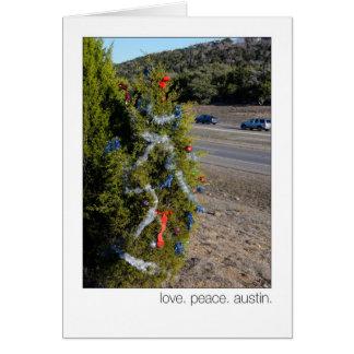 Love. Peace. Austin. 360 Loop Christmas  Trees Card