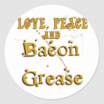 Love Peace & Bacon Grease Round Stickers