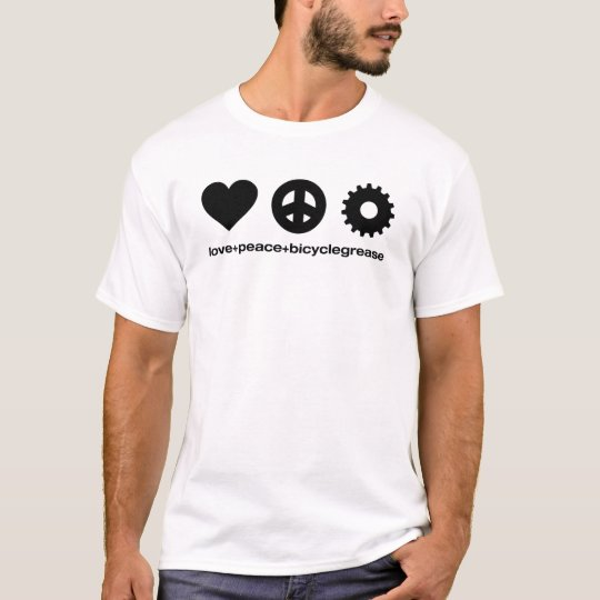 love peace bicyclegrease (for white shirt) T-Shirt
