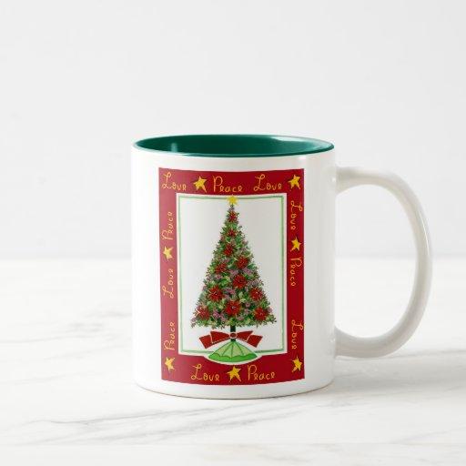 love & peace christmas mug