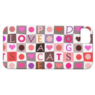 Love Peace Dogs Cats Case For The iPhone 5