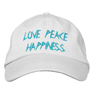LOVE PEACE HAPPINESS EMBROIDERED BASEBALL CAPS