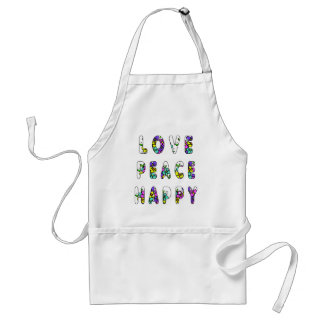 Love Peace Happy Flowers Adult Apron