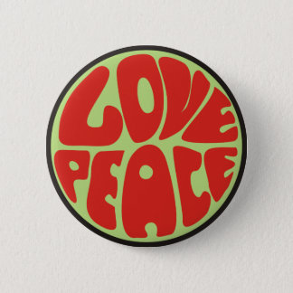 love peace hippie saying 6 cm round badge