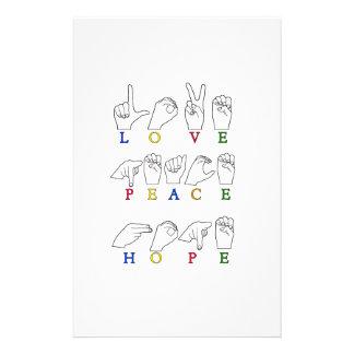 LOVE PEACE HOPE FINGERSPELLED ASL SIGN STATIONERY