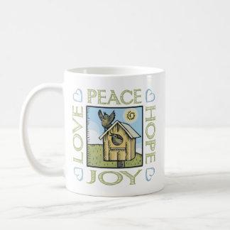 Love, Peace, Hope, Joy Basic White Mug