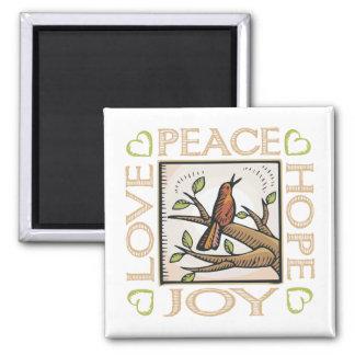 Love, Peace, Hope, Joy Square Magnet