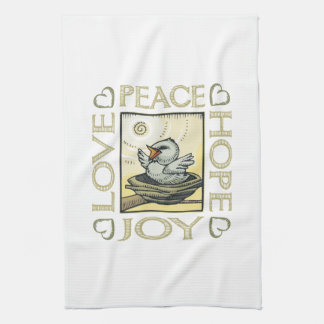 Love, Peace, Hope, Joy Tea Towel