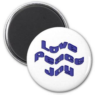 Love Peace Joy 6 Cm Round Magnet