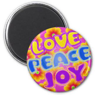 Love, Peace, Joy 6 Cm Round Magnet