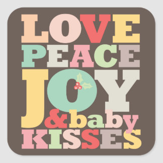 Love Peace Joy Baby Kisses 1st Christmas Sticker