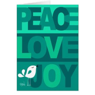 Love Peace Joy Birdy Christmas aqua teal Greeting Card