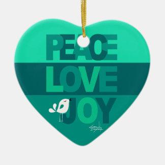 Love Peace Joy Birdy Christmas | aqua teal Ceramic Heart Decoration