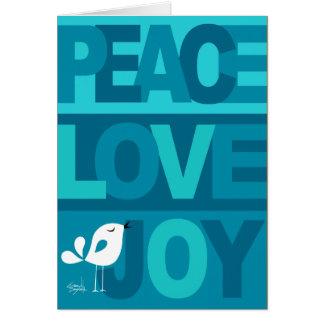 Love Peace Joy Birdy Christmas blue teal Greeting Card