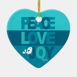 Love Peace Joy Birdy Christmas | blue teal Ceramic Heart Decoration