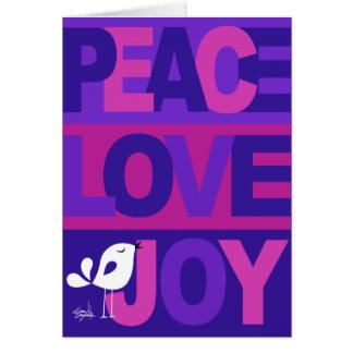 Love Peace Joy Birdy Christmas blue violet Greeting Cards