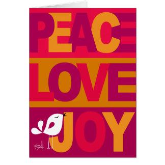 Love Peace Joy Birdy Christmas gold purple Card