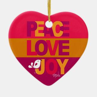 Love Peace Joy Birdy Christmas | gold purple Ceramic Heart Decoration