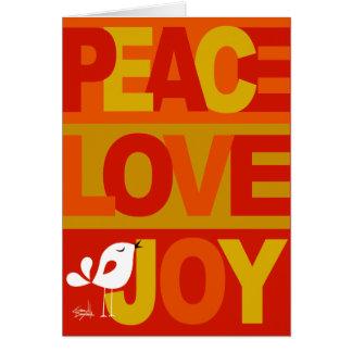Love Peace Joy Birdy Christmas orange red yellow Greeting Cards