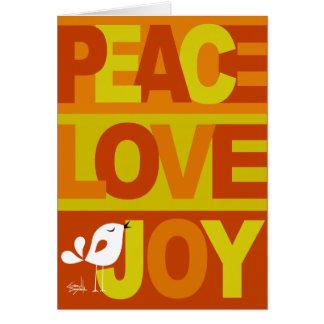 Love Peace Joy Birdy Christmas orange yellow Card