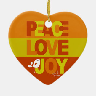 Love Peace Joy Birdy Christmas | orange yellow Ceramic Heart Decoration