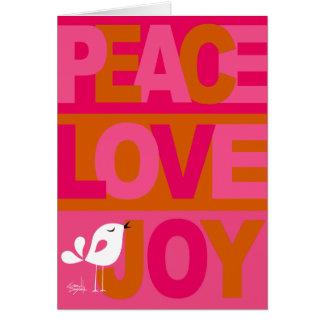 Love Peace Joy Birdy Christmas pink orange Greeting Card