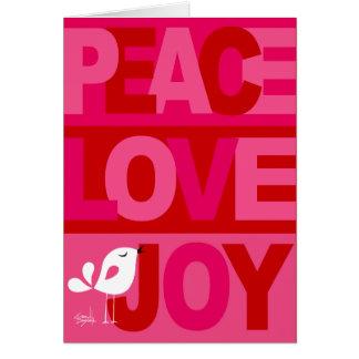 Love Peace Joy Birdy Christmas pink red Card