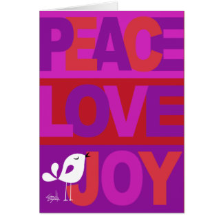 Love Peace Joy Birdy Christmas purple coral red Greeting Card