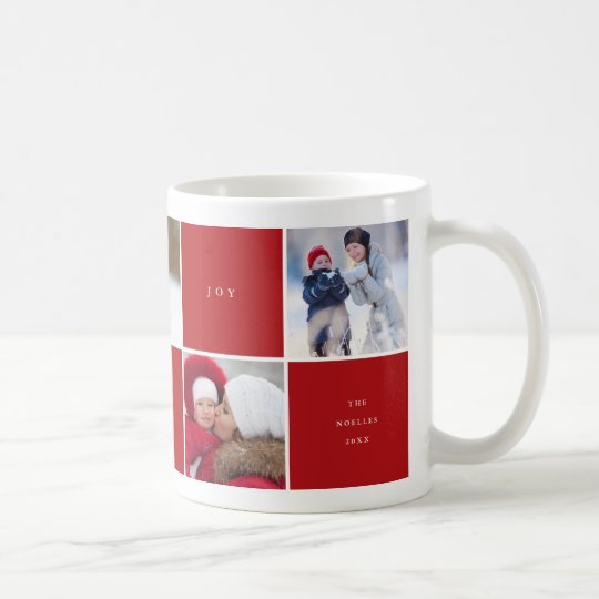 Love Peace Joy Colour Blocks Photo Collage Mug