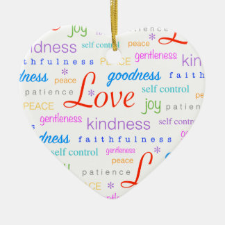Love PEACE Joy Fruit of the Spirit Colorful Ceramic Heart Decoration