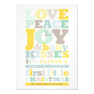 Love Peace Joy Fun Baby First Christmas Photo Card Magnetic Invitations
