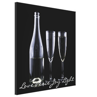 Love Peace Joy Light Champagne Festive Black White Canvas Prints