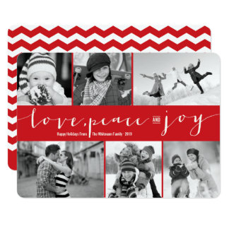 Love Peace Joy Modern Holiday Photo Collage Card