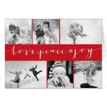 Love Peace Joy Multi Grid Holiday Photo Greetings Cards