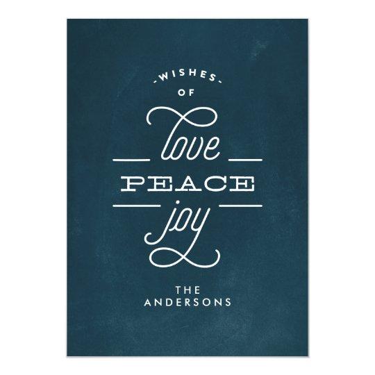 LOVE PEACE JOY Navy Chalk Holiday Christmas Card