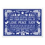 Love Peace, Joy papel picado blue Christmas 13 Cm X 18 Cm Invitation Card