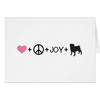 Love Peace Joy Pug Card